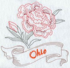 Ohio - Scarlet Carnation (Redwork)