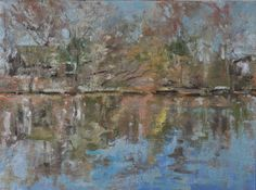 """Raymond Berry: Luck's Farm, Abandoned Cottage and Reflections, March 14, 2014, Oil on Canvas, 9"""" x 12"""""""