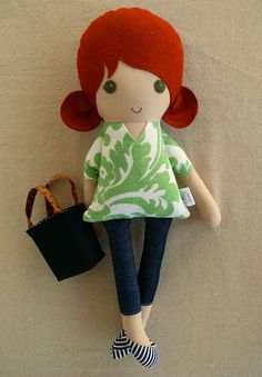 Fabric Doll Rag Doll Red Haired Girl in Green and by rovingovine, $38.00