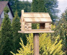 Wooden Bird Feeder Plans | Amish Log Cabin Bird Feeder