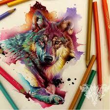 Resultado de imagem para wolf aquarela