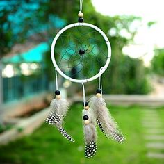 Soledi Dream Catcher Handmade Romantic Hanging Bead Ornament Car Wall Hanging Decoration With Feathers Flocking Black and White Dot Soledi