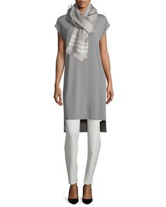Short-Sleeve Jersey Tunic/Dress, Textured Alpaca-Blend Scarf & Washable-Crepe Straight-Leg Pants  by Eileen Fisher at Neiman Marcus.