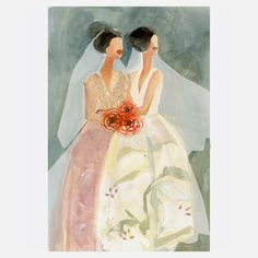 """Gayle Kabaker Romantic Prints Of Lovely Ladies """"2 Brides"""" 9x12 now featured on Fab."""