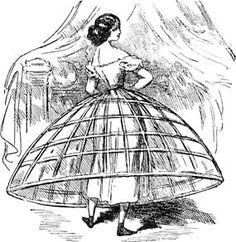 Jaula crinolina: Armazon hecho de crin de caballo que se utilizaba para dar volumen a las faldas empleado en el Romanticismo.