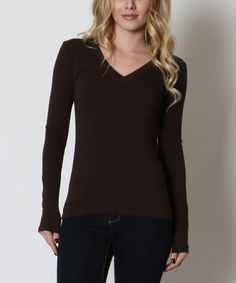 Another great find on #zulily! Zenana Dark Brown V-Neck Tee by Zenana #zulilyfinds