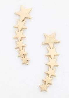 Star Flight, Star Bright Earrings in Gold - Gold, Gold, Quirky, Nifty Nerd, Cosmic, Variation