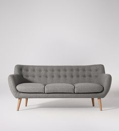Swoon Editions Three-seater sofa, Mid century Mimi in granite grey - £629