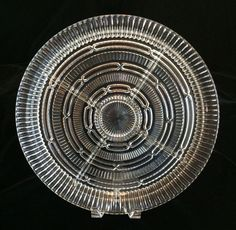 Vintage Divided Glass Relish Tray Five Compartments 14 Inch Diameter
