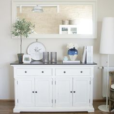 The Nova Solo Provence Basic Buffet is the storage and display piece you have been looking to put in your entryway or dining room. Bathroom Colors, Bathroom Sets, White Furniture, Painted Furniture, Buffet, Provence, Shaker Style Doors, Shabby, Dark Wood Stain