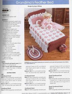 fashion doll collection - EVIE D - Picasa Web Albums Crochet Barbie Patterns, Crochet Doll Dress, Barbie Clothes Patterns, Crochet Barbie Clothes, Crochet Doll Pattern, Crochet Furniture, Diy Barbie Furniture, Grandma's Feather Bed, Doll Beds