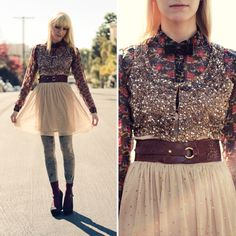 "Danielle from ""A Bevy Of"" in UO's dress, blouse, vest, leggings and shoes #urbanoutfitters"