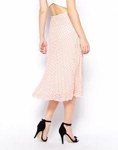 Enlarge ASOS Pleated Midi Skirt In Gingham Print