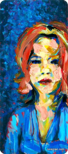 """""""Redhead in Blue"""" by Jeff Wrench. Acrylic on paint chip."""