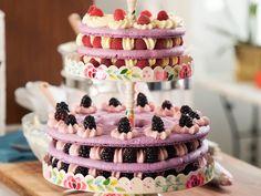 Gesine Bullock-Prado Tiered Macaron Cake Recipe // Food Network Baked In Vermont Macaron Cake, Macarons, Baked In Vermont, Brownies, 9 Inch Cake Pan, Lemon Buttercream, Gel Food Coloring, Pastry Brushes, Keto