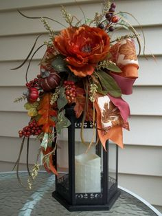 PERSIMMON & BURGUNDY - Decorative Fall/Thanksgiving LanternSwag by DecorClassicFlorals, $39.95 on Etsy