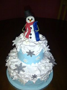 snowman cake Snowman Cake, Snowmen, All Holidays, Baby Shower Cakes, Holiday Fun, Baking, Desserts, Food, Cakes Baby Showers
