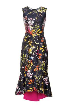 Floral Silk and Cotton Midi Ruffle Dress by Oscar de la Renta Now Available on Moda Operandi