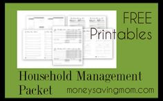 Free Household Management Forms {Chore Charts, Daily Docket, Cleaning Lists, Stock-up List}