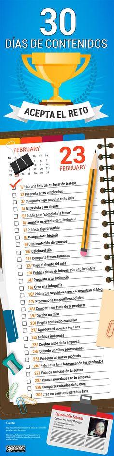 30 ideas para un mes de marketing de contenidos Infografia en español. #CommunityManager
