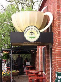 cool storefront!  Highland Coffee, Louisville, Kentucky