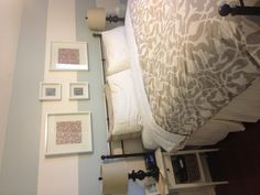 Benjamin Moore Quiet Moments with a striped accent wall