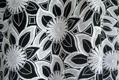 Cotton Voile - black with white embroidered flowers