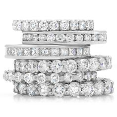 Diamond eternity bands to stack or wear alone. We also sell gemstone eternity bands for a bit of color :)