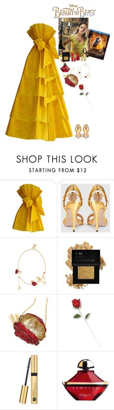 """Beauty and the Beast"" by eliza-redkina ❤ liked on Polyvore featuring Disney, Gucci, Emma Watson, Christopher Kane, Forever 21, Judith Leiber, L'Oréal Paris, Estée Lauder, Guerlain and outfit"