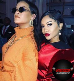 Singer Rihanna with rapper Saweetie at the Fenty pop up shop for NTFW