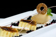Vanilla Bean Creme Brulee with Blueberry Compote, Shortbread, and Mirabelle Plum Sorbet