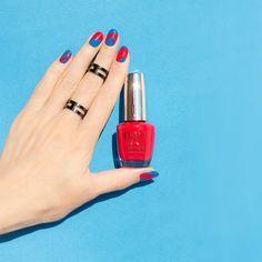 blue and red nails using #OPI Unequivocally Crimson  #nailart #nailpolish