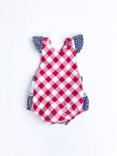 334b97d8e29 4th of July Flutter Sleeves Summer Romper or Memorial Day Red White and  Blue Stars American Flag Gingham Lace Butt Ruffle with Snaps Crotch