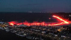The Waterfront of the Polish Seaport of Gdynia Illuminated by over 700 Flares