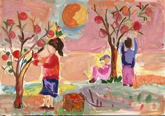 anahit.jpg  Painting by a child of children harvesting fruit