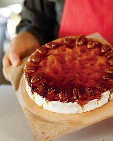 Brie topped with pecan-caramel brittle