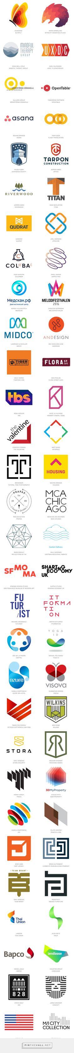 2016 Logo Trends | LogoLounge: Ombré, Circles, Half and Half, Linked, Stimming, Dog Eared, Corners, Line Dash, Off Shift, Curls, Pocket Shield, Slices, Letter Block, Benders, Bars