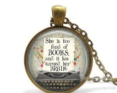 Alice in Wonderland Quote Necklace, Curiouser and Curiouser Cried Alice, Lewis Carroll, Alice in Wonderland Jewelry