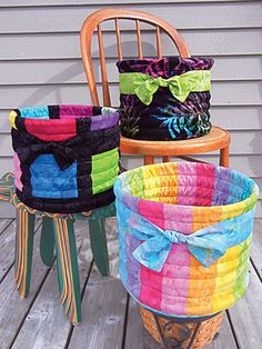 Stitch some durable baskets for all your storage needs! These fun and sassy fabric baskets are perfect for storing shoes, clothes, toys or anything else yo