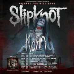 JUST ANNOUNCED: Slipknot will be bringing the with Korn to the UK. Presale on Thurs, general on sale on Friday at Newcastle Metro, Tedeschi Trucks Band, Hard Rock Music, Concert Tickets, Slipknot, Korn, Sheffield, Glasgow, Liverpool