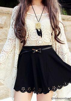 Oversize Batwing Crochet Top - Elegant Batwing Sleeves Blouse