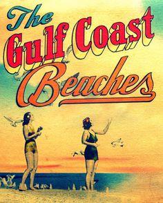 beach print GULF COAST BEACHES 8 x10 art photograph coastal decor 1940s vintage 30a red aqua yellow orange. $22.00, via Etsy.