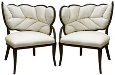 Pair of French Art Deco Leaf Form Upholstered Chairs, Showplace Antique+Design Center Art Deco Chair, Art Deco Furniture, Unique Furniture, Furniture Design, Glass Furniture, Mirrored Furniture, Furniture Chairs, Plywood Furniture, Furniture Stores