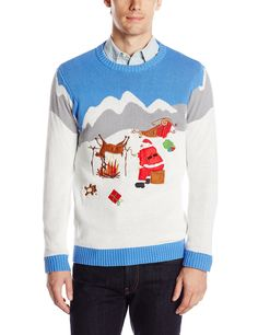 Ugly Christmas Sweater Reindeer Men's Spit Roast Reindeer, White/Grey/Light Blue, from Blizzard Bay Best Ugly Christmas Sweater, Holiday Sweater, Christmas Jumpers, Thing 1, Ugly Sweater Party, Santa And Reindeer, Blue Sweaters, Xmas Sweaters, Gift Ideas