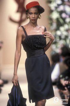 Supermodel- Amalia Vairelli modeling Yves Saint Laurent, Spring-Summer 1991, Couture