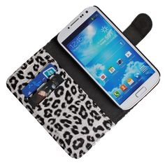 White Chic Leopard Prints Leather Flip Case Holder Cover for Samsung Galaxy S4
