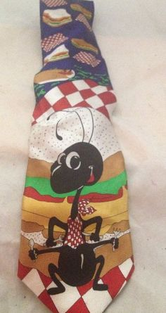 Keith Daniels Hand Made 100% Silk Vintage Multi Color Neck Tie Picnic Giant Ant #NeckTie