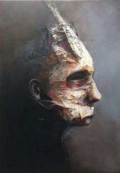 3èm étape. L'artiste est Éric Lacombe. L'oeuvre est réaliser en acrylique. Le sujet est un vidage du personne qui regarde au loin avec une substance recouverte sur lui. La majorité des couleur sont terne. Il n'y a pas de couleur vive ou même chaude. J'aime l'oeuvre, puisqu'elle est original comparé à d'autre. Elle sait se démarqué en modifiant le visage d'un être humain tout en gardant son sujet principale.