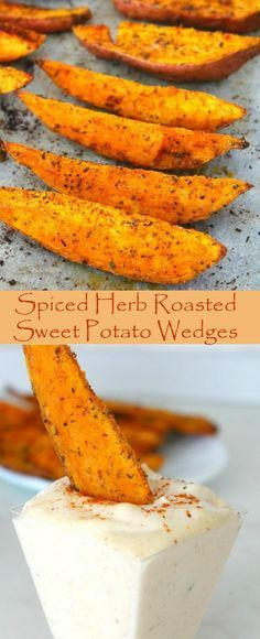 SPICED HERB ROASTED SWEET POTATO WEDGES - A delicious and simple recipe, these easy spiced herb roasted sweet potato wedges are a great and healthier alternative to chips or fries!