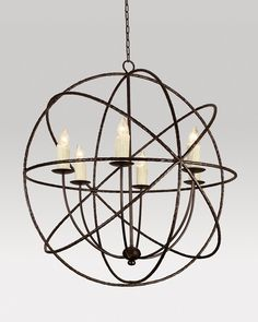 "Cassiopeia by Ironware International, has 6 lights and is made of all wrought iron with custom finishing  available. This fixture is 36"" diameter and 38"" high."